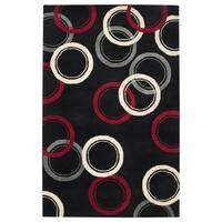 Hand-tufted Abstract Wool Black Rug (5' x 8') - 5' x 8'