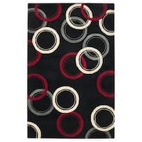 Handmade Abstract Wool Black Rug - 9' x 12'