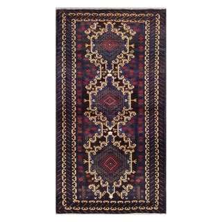 Herat Oriental Afghan Hand-knotted Tribal Balouchi Purple/ Ivory Wool Rug (3'10 x 7'3)
