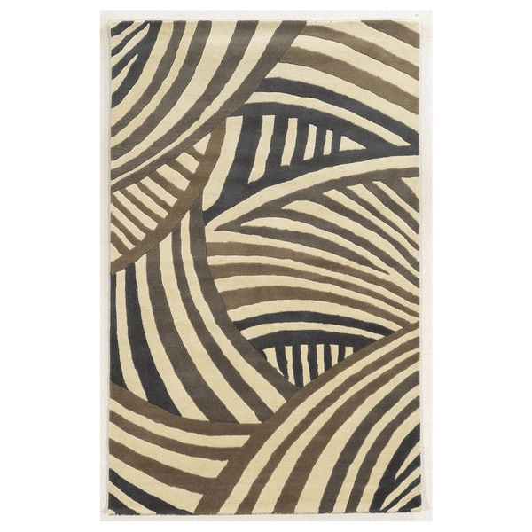 Hand-tufted Abstract Wool Ivory Rug (2' x 3') - 2' x 3'