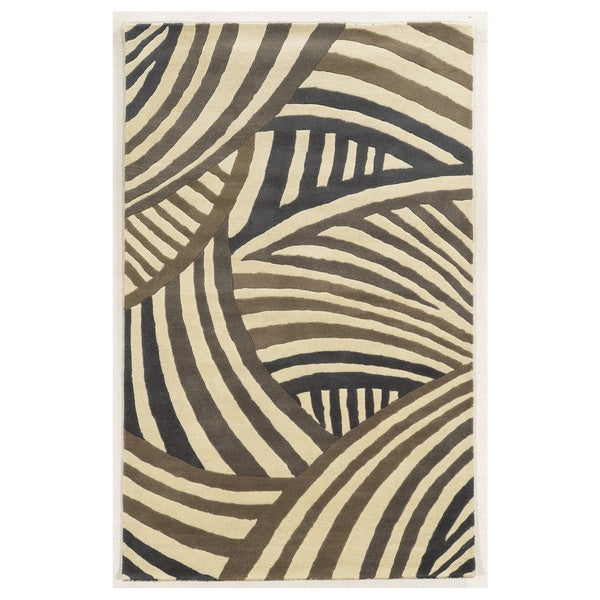 Hand-tufted Abstract Wool Ivory Rug (5' x 8')