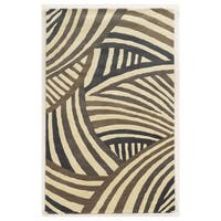 Hand-tufted Abstract Wool Ivory Rug (9' x 12')