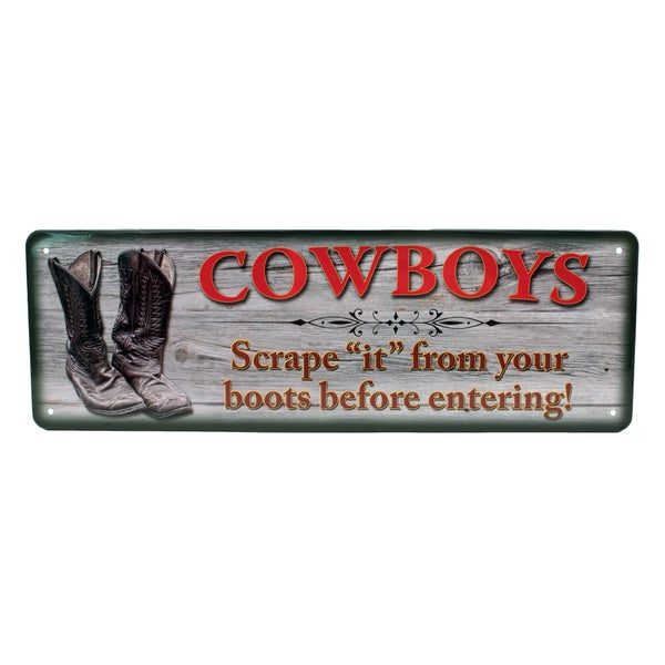 Rivers Edge Products 10.5-inch x 3.5-inch Tin Sign Cowboys Scrape 'It