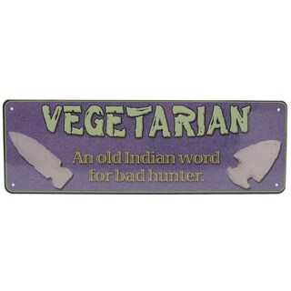 Rivers Edge Products 10.5-inch x 3.5-inch Tin Sign Vegetarian