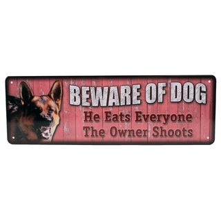 Rivers Edge Products 10.5-inch x 3.5-inch Tin Sign Beware of Dog