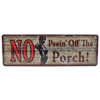 Rivers Edge Products 10.5-inch x 3.5-inch Tin Sign No Peein' Off the Porch