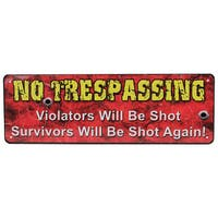 Rivers Edge Products 10.5-inch x 3.5-inch Tin Sign No Trespassing
