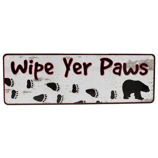 Rivers Edge Products 10.5-inch x 3.5-inch Tin Sign Wipe Yer Paws