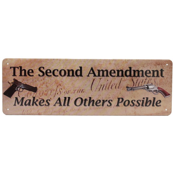 Rivers Edge Products 10.5-inch x 3.5-inch Tin Sign Second Amendment