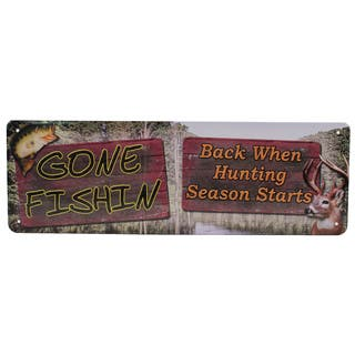 Rivers Edge Products 10.5-inch x 3.5-inch Tin Sign Gone Fishin|https://ak1.ostkcdn.com/images/products/10360503/P17468397.jpg?impolicy=medium