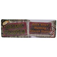 Rivers Edge Products 10.5-inch x 3.5-inch Tin Sign Gone Fishin