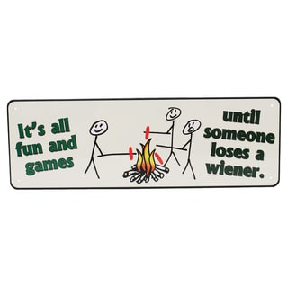 Rivers Edge Products 10.5-inch x 3.5-inch Tin Sign It's All Fun And Games