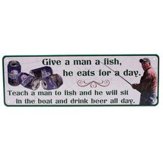 Rivers Edge Products 10.5-inch x 3.5-inch Tin Sign Give A Man A Fish