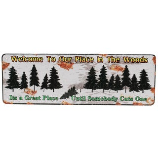 Rivers Edge Products 10.5-inch x 3.5-inch Tin Sign Welcome To Our Place