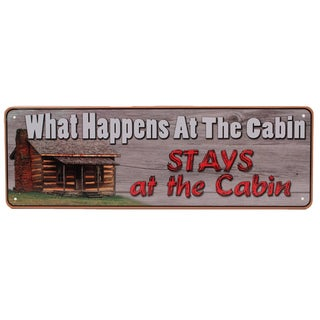 Rivers Edge Products 10.5-inch x 3.5-inch Tin Sign What Happens At The Cabin