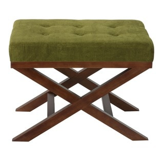 Kayla Traditional Earth Green Corduroy Bench Ottoman