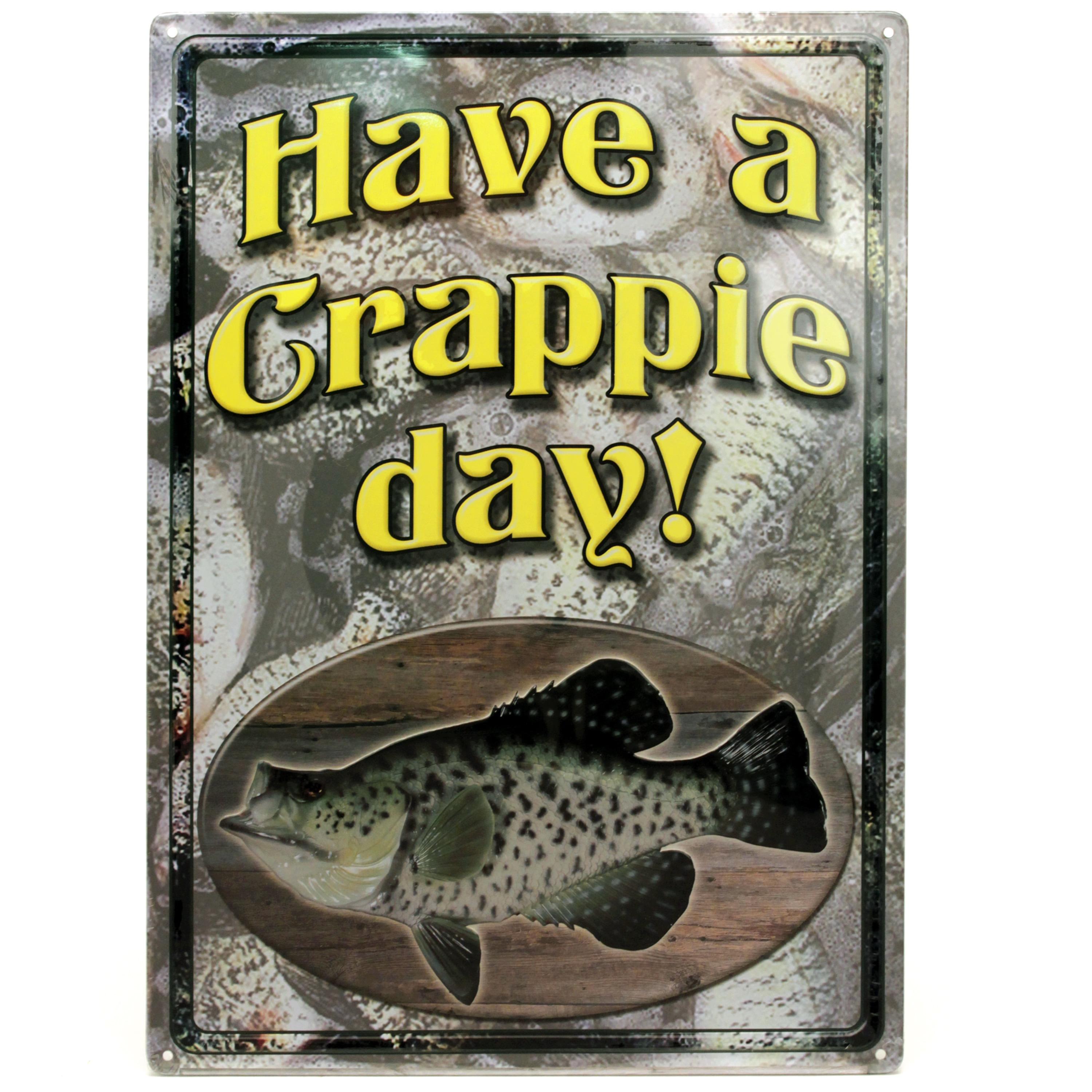 """River's Edge 12-inch x 17-inch Tin Sign Crappie Day (12"""" ..."""