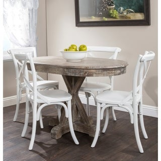 Kosas Home Hand Distressed Rockie Rustic Mocha Sustainable Plantation Grown Pine Oval Dining Table