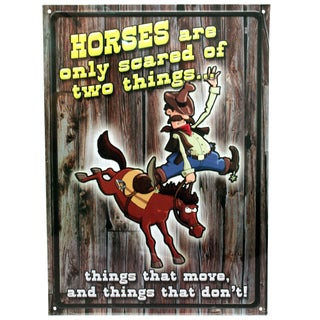 Rivers Edge Products 12-inch x 17-inch Tin Sign Horses Are Scared