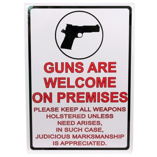 Rivers Edge Products 12-inch x 17-inch Tin Sign Guns Are Welcome