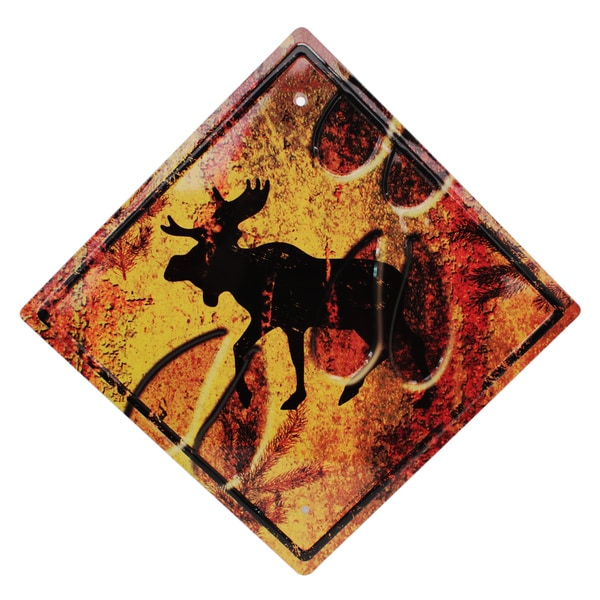 Rivers Edge Products 11.5-inch x 11.5-inch Tin Sign Moose Crossing