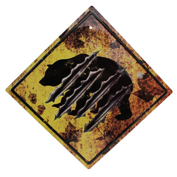 Rivers Edge Products 11.5-inch x 11.5-inch Tin Sign Bear Crossing