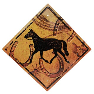 Rivers Edge Products 11.5-inch x 11.5-inch Tin Sign Horse Crossing
