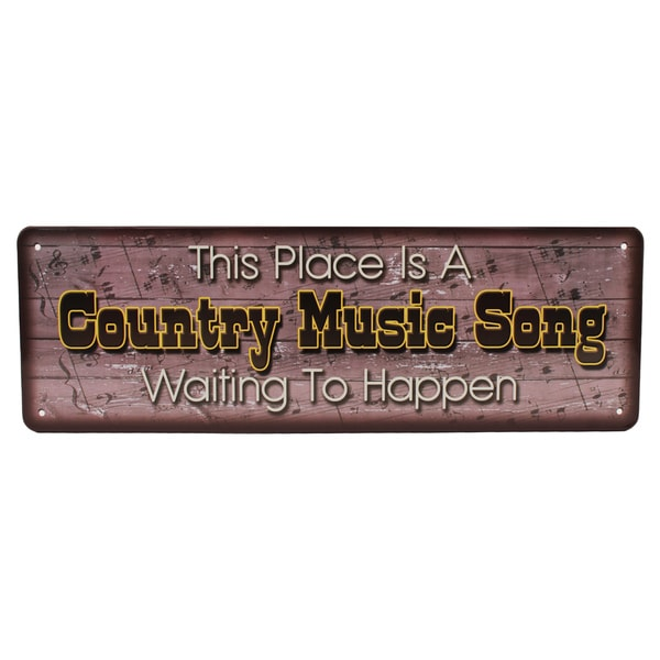 Rivers Edge Products 10.5-inch x 3.5-inch Tin Sign Country Music Song