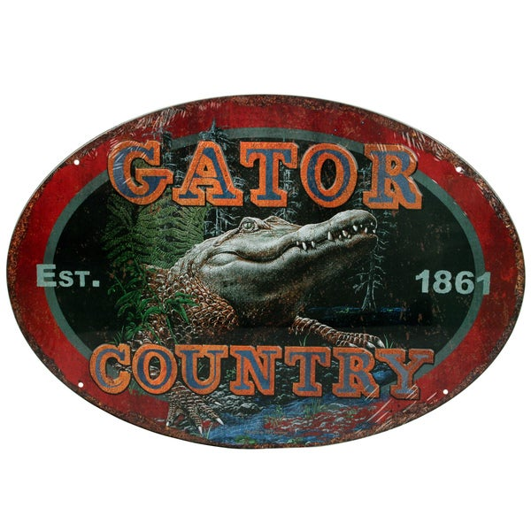 Rivers Edge Products 12-inch x 17-inch Tin Sign Gator Country
