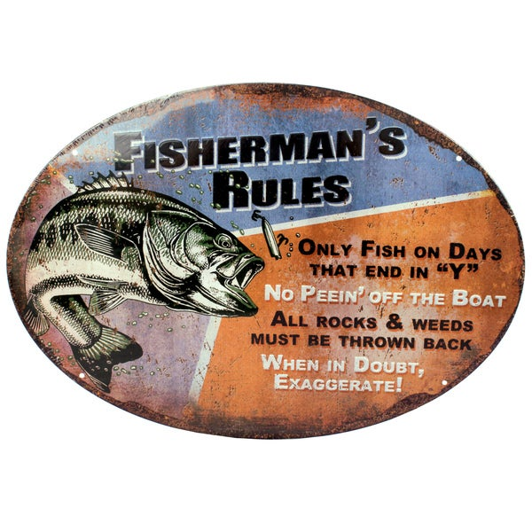 Rivers Edge Products 12-inch x 17-inch Tin Sign Fisherman's Rules