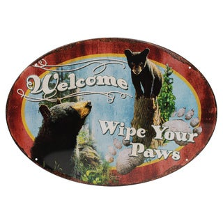 Rivers Edge Products 12-inch x 17-inch Tin Sign Wipe Your Paws