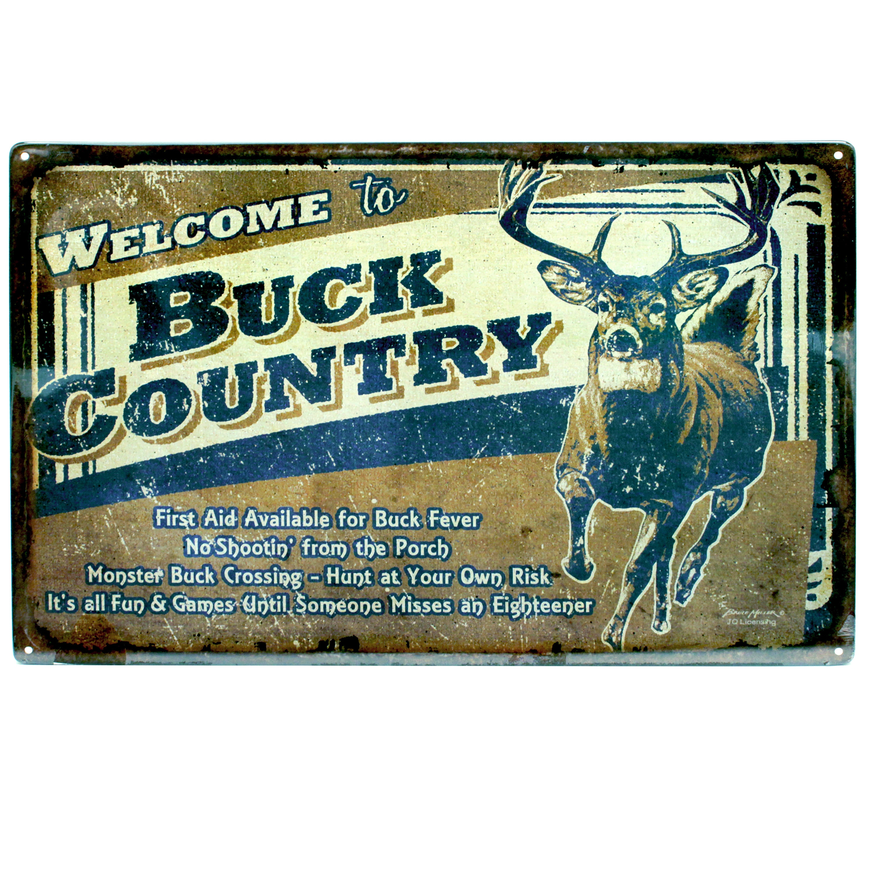 """River's Edge 12-inch x 17-inch Tin Sign Buck Country (12""""..."""