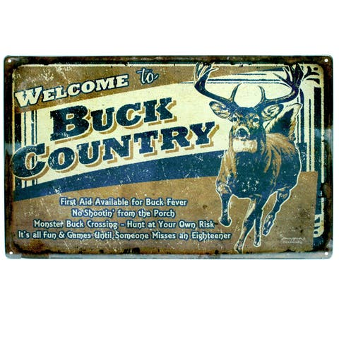Rivers Edge Products 12-inch x 17-inch Tin Sign Buck Country