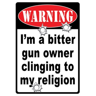 Rivers Edge Products 12-inch x 17-inch Tin Sign Warning-Bitter Gun Owner