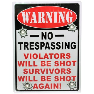 Rivers Edge Products 12-inch x 17-inch Tin Sign Warning-No Trespassing