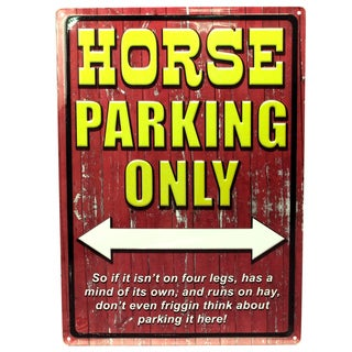 Rivers Edge Products 12-inch x 17-inch Tin Sign Horse Parking