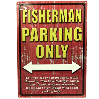 Rivers Edge Products 12-inch x 17-inch Tin Sign Fisherman Parking