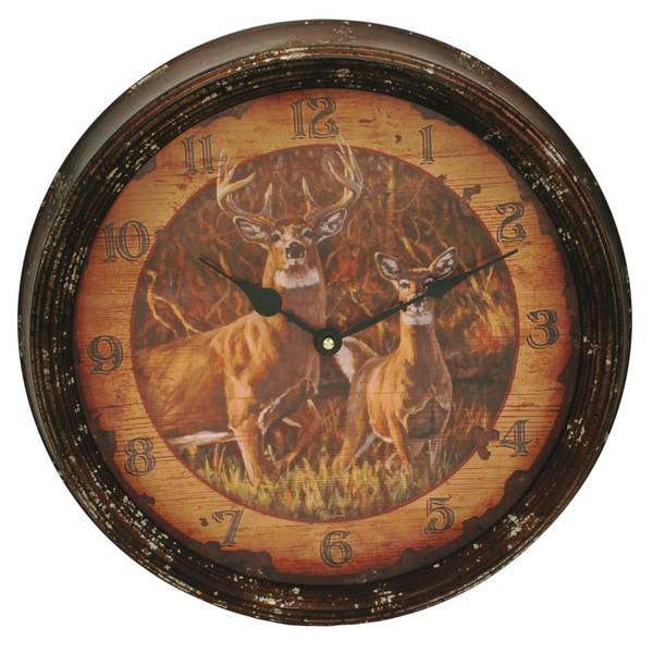 Rivers Edge Products Metal Clock 15-inch Buck and Doe