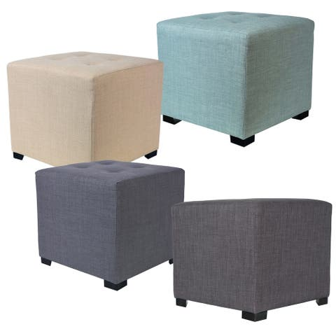 MJL Furniture Solid 4 Button Tufted Square Ottoman