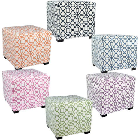 MJL Furniture Noah 4 Button Tufted Square Ottoman