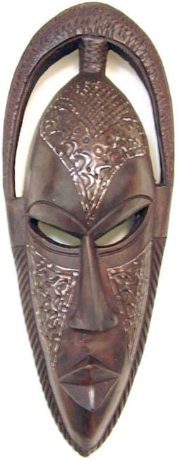 Hand-carved Bundu Mask Wood and Brass Wall Art Sculpture (Ghana)