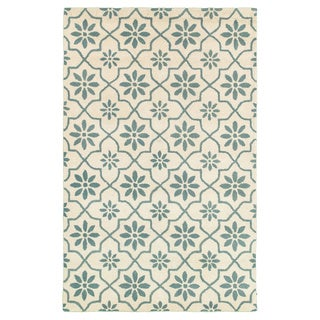 Hand-tufted Trellis Wool White Rug (2' x 3')
