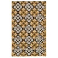 Hand-tufted Trellis Wool Gold Rug (3' x 5')