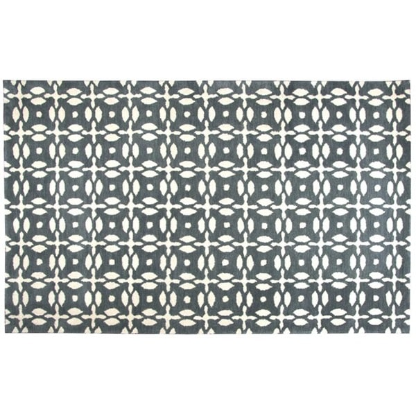 Hand-tufted Trellis Wool Grey Rug (3' x 5')