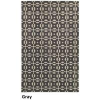 Hand-tufted Trellis Wool Grey Rug (5' x 8') - 5' x 8'