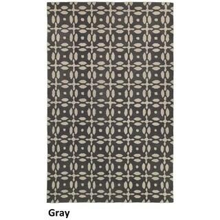 Hand-tufted Trellis Wool Grey Rug (8' x 10')