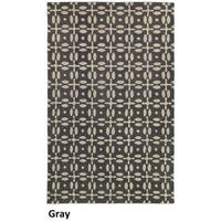 Hand-tufted Trellis Wool Grey Rug (8' x 10')