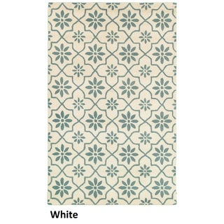 Hand-tufted Trellis Wool White Rug (8' x 10')