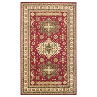 Hand-tufted Border New Zealand Wool Red Rug (2' x 3')