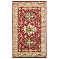 Hand-tufted Border New Zealand Wool Red Rug - 3' x 5'